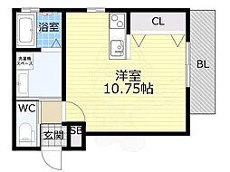 阪急神戸本線 王子公園駅 徒歩9分の賃貸アパート 2階ワンルームの間取り