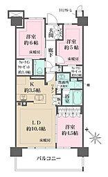 ザ・パークハウスオイコス新浦安 8階3LDKの間取り