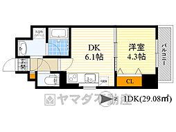 サムティガーデン江坂2 1階1DKの間取り
