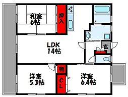 シャンポールセイコウ 7階3LDKの間取り