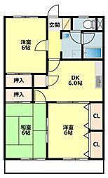 愛知県岡崎市小呂町の賃貸アパートの間取り
