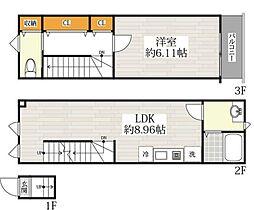 京急本線 青物横丁駅 徒歩2分の賃貸アパート 3階1LDKの間取り