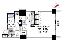 パークタワー東中野 19階ワンルームの間取り
