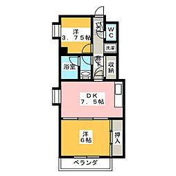 サンコート椙田 7階2DKの間取り