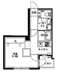 都営新宿線 曙橋駅 徒歩4分の賃貸マンション 4階1Kの間取り