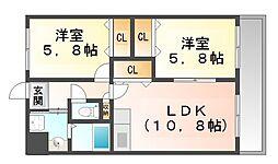 兵庫県尼崎市田能2丁目の賃貸マンションの間取り