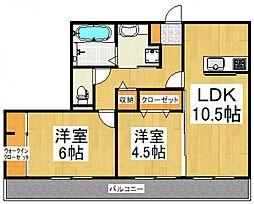 ディアマンテ弐番館[2階]の間取り