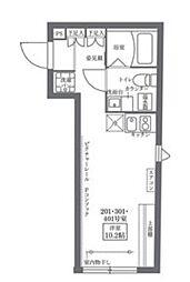 COCOCUBE KITA-SENJU 5階1Kの間取り