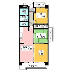 横山マンション[4階]の間取り