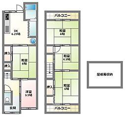 京阪本線 大和田駅 徒歩10分の賃貸テラスハウス 2階4DKの間取り