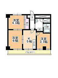 鶴ヶ島マンション[302号室]の間取り