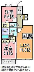メセナ桜の郷[102号室]の間取り