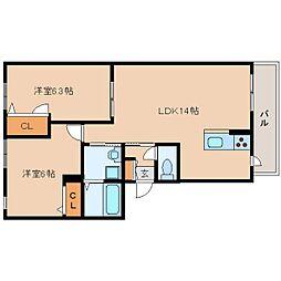 JR関西本線 王寺駅 バス10分 星和台2丁目下車 徒歩2分の賃貸アパート 2階2LDKの間取り