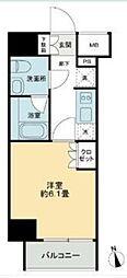 JR山手線 五反田駅 徒歩9分の賃貸マンション 13階1Kの間取り