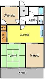 愛知県名古屋市緑区大高台2丁目の賃貸アパートの間取り