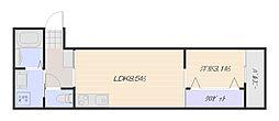 広島電鉄宮島線 山陽女学園前駅 徒歩3分の賃貸アパート 1階1LDKの間取り