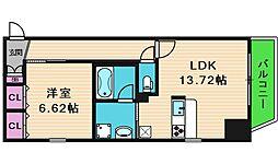 大阪府大阪市中央区材木町の賃貸マンションの間取り