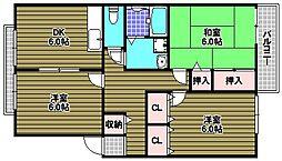 ハイツアオキ[102号室]の間取り