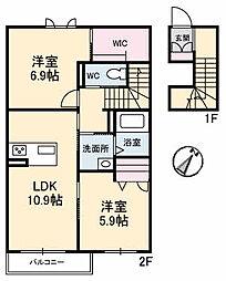 シャーメゾンMI−NE[2階]の間取り