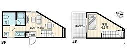 東急世田谷線 上町駅 徒歩1分の賃貸マンション 3階1LDKの間取り