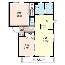 サンモール B[1階]の間取り