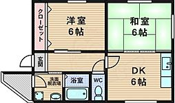 ハヤシハイツ 3階2DKの間取り