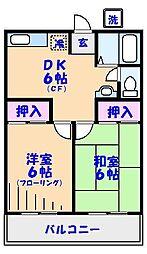 千葉県市川市田尻4丁目の賃貸アパートの間取り