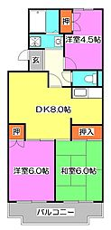 東京都清瀬市旭が丘3丁目の賃貸マンションの間取り