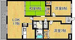 奈良県奈良市恋の窪1丁目の賃貸マンションの間取り