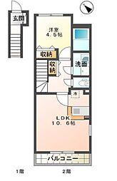 (仮名)園部町小山東新築アパート[201号室号室]の間取り