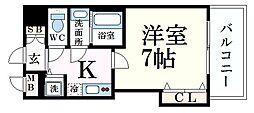 阪神本線 芦屋駅 徒歩7分の賃貸マンション 2階1Kの間取り