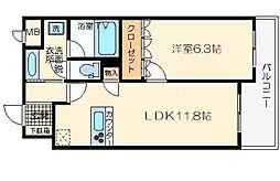 リーガル大阪城東[2階]の間取り