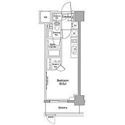 ザ・パークハビオ西大井 1階ワンルームの間取り
