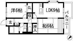 兵庫県伊丹市荻野6丁目の賃貸アパートの間取り