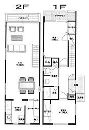 [テラスハウス] 神奈川県横浜市都筑区牛久保2丁目 の賃貸【/】の間取り