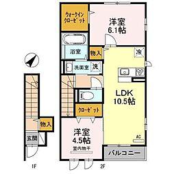 JIN/輝 A棟 2階2LDKの間取り