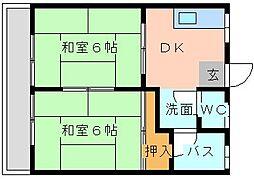 サンハイツ赤坂[201号室]の間取り