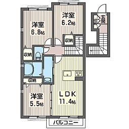 仮称 越戸2丁目シャーメゾン[2階]の間取り