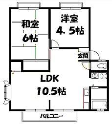 大阪府吹田市岸部北3丁目の賃貸アパートの間取り