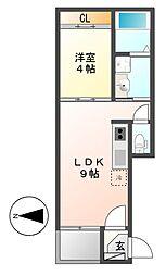 志賀本通ヒルズ[3階]の間取り
