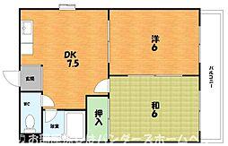 大阪府枚方市堂山1丁目の賃貸マンションの間取り