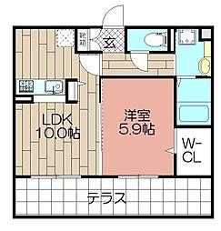 D-room東光寺[102号室]の間取り
