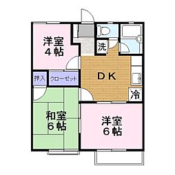 ワキタハイツA[1階]の間取り