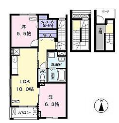 バス 東条下車 徒歩5分の賃貸アパート 3階2LDKの間取り