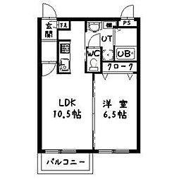 ルトゥール[4階]の間取り