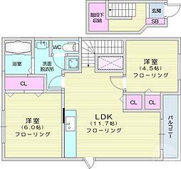 仙台市地下鉄東西線 八木山動物公園駅 徒歩26分の賃貸アパート 2階2LDKの間取り