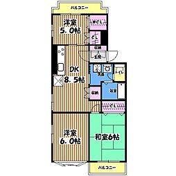 東京都国立市東2丁目の賃貸マンションの間取り