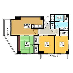 岡山県岡山市中区国富4丁目の賃貸マンションの間取り