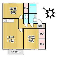 カーサ江戸屋敷[2階]の間取り