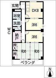 毛利コーポ2[1階]の間取り